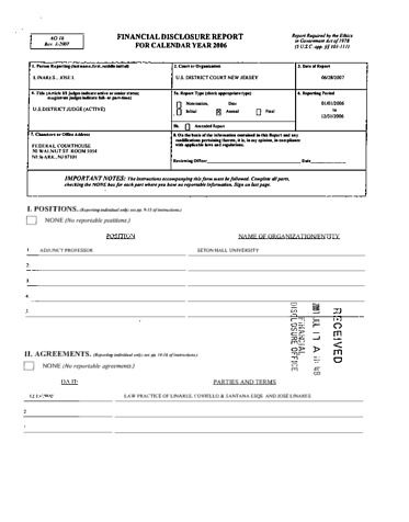 Page 1: Jose L Linares Financial Disclosure Report for 2006
