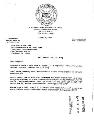 Page 1: Jr Harold Baer Financial Disclosure Report for 2004