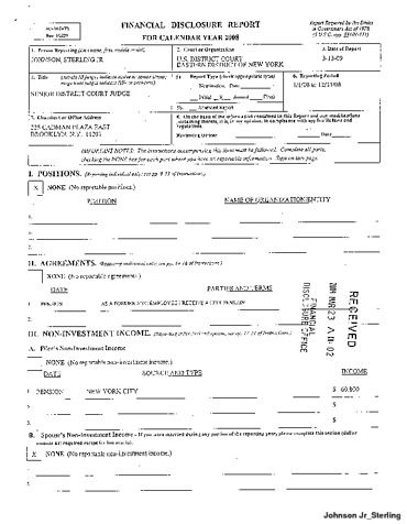 Page 1: Jr Sterling Johnson Financial Disclosure Report for 2008