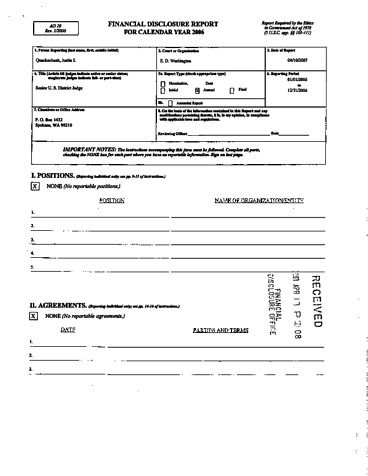 Page 1: Justin L Quackenbush Financial Disclosure Report for 2006