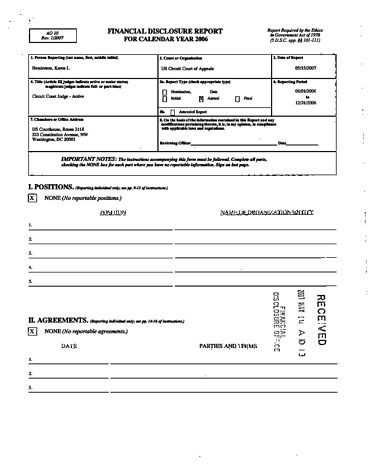 Page 1: Karen L Henderson Financial Disclosure Report for 2006