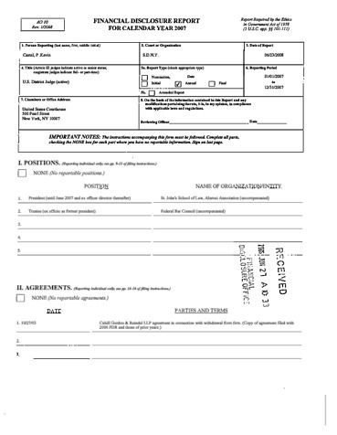 Page 1: Kevin P Castel Financial Disclosure Report for 2007
