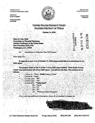 Page 1: Leonard E Davis Financial Disclosure Report for 2003