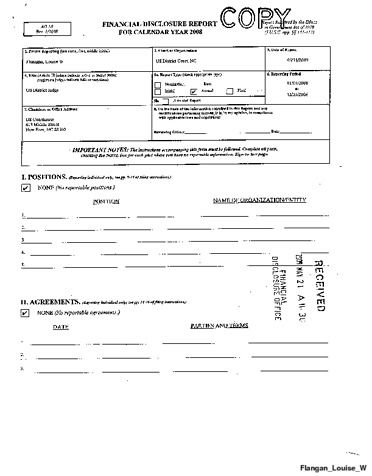 Page 1: Louise W Flanagan Financial Disclosure Report for 2008
