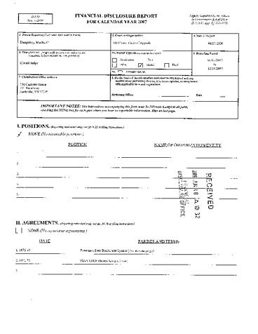 Page 1: Martha C Daughtrey Financial Disclosure Report for 2007