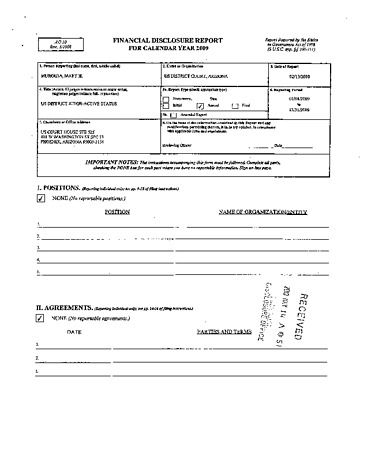 Page 1: Mary H Murguia Financial Disclosure Report for 2009