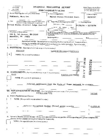 Page 1: Mary Lou Robinson Financial Disclosure Report for 2006