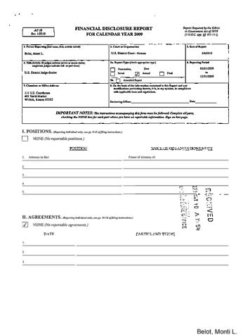 Page 1: Monti L Belot Financial Disclosure Report for 2009