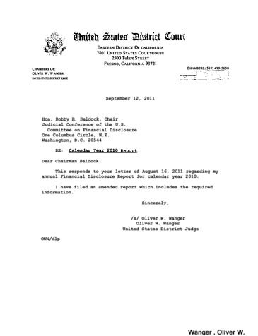 Page 1: Oliver W Wanger Financial Disclosure Report for 2010