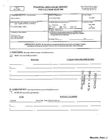Page 1: Peter J Messitte Financial Disclosure Report for 2008