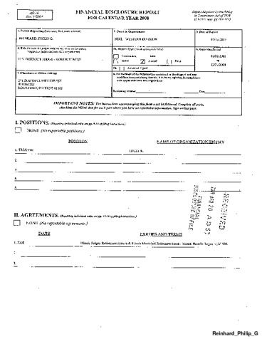 Page 1: Philip G Reinhard Financial Disclosure Report for 2008