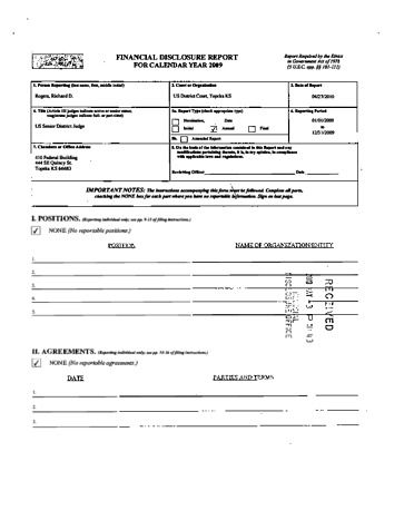 Page 1: Richard D Rogers Financial Disclosure Report for 2009