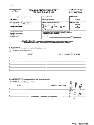 Page 1: Richard H Kyle Financial Disclosure Report for 2009