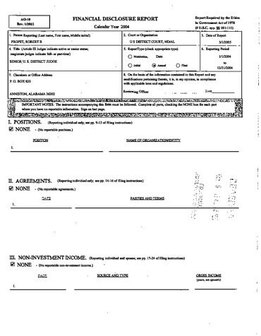 Page 1: Robert B Propst Financial Disclosure Report for 2004