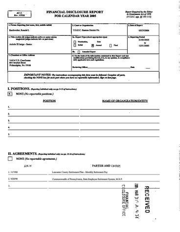Page 1: Ronald L Buckwalter Financial Disclosure Report for 2005