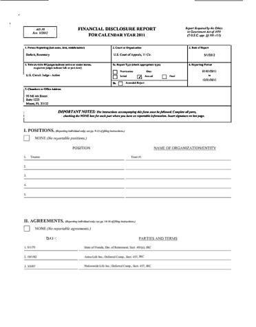 Page 1: Rosemary Barkett Financial Disclosure Report for 2011