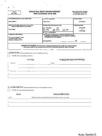 Page 1: Sandra Ikuta Financial Disclosure Report for 2009