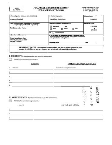 Page 1: Saundra B Armstrong Financial Disclosure Report for 2006