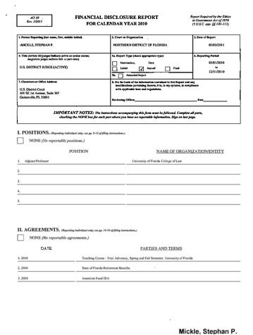 Page 1: Stephan P Mickle Financial Disclosure Report for 2010