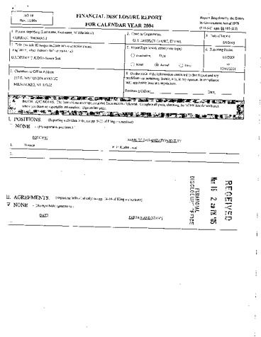 Page 1: Thomas J Curran Financial Disclosure Report for 2004