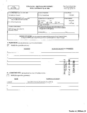 Page 1: William B Traxler Jr Financial Disclosure Report for 2008