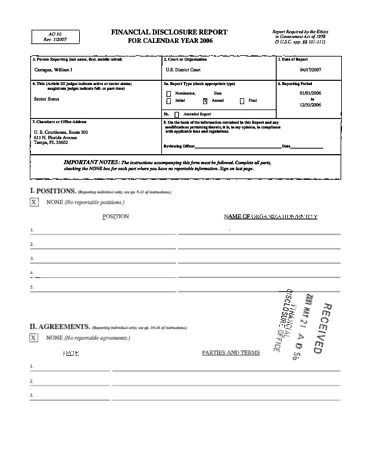 Page 1: William J Castagna Financial Disclosure Report for 2006