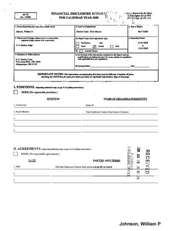 Page 1: William P Johnson Financial Disclosure Report for 2008