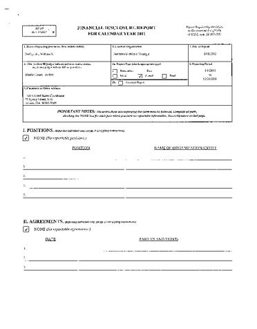Page 1: William S Duffey Jr Financial Disclosure Report for 2011