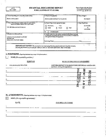 Page 1: William T Hart Financial Disclosure Report for 2006