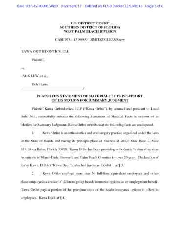 Page 1: Stamped Statement of Facts in Kawa v Lew