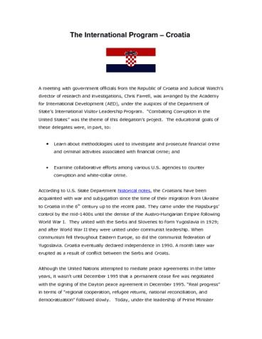Page 1: 31 November 18 2010 CROATIA Meeting Summary