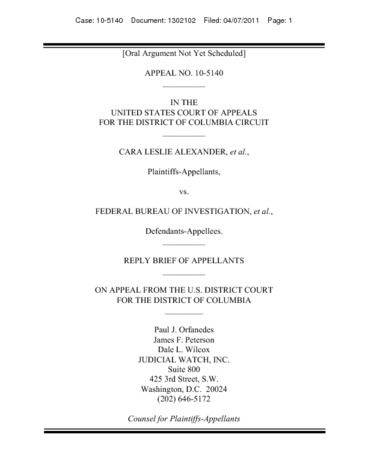 Page 1: Alexander v FBI Appellant Rep Brief 04072011