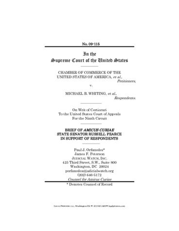 Page 1: Chamber of Commerce v Whiting Amicus 11042010
