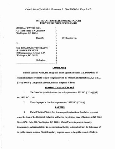 Page 1: 3 25 14 Judicial Watch v HHS (1 14_cv_00430)