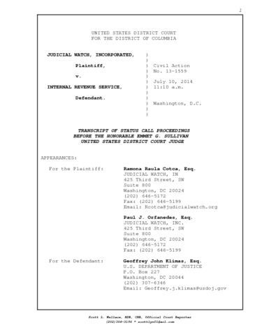 Page 1: Judicial Watch v IRS SC Complete Transcript – 7/10/14