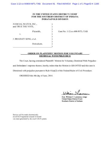 Page 1: Indiana Order Granting Dismissal