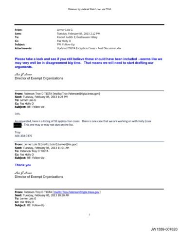 Page 1: Lerner TIGTA IRS emails