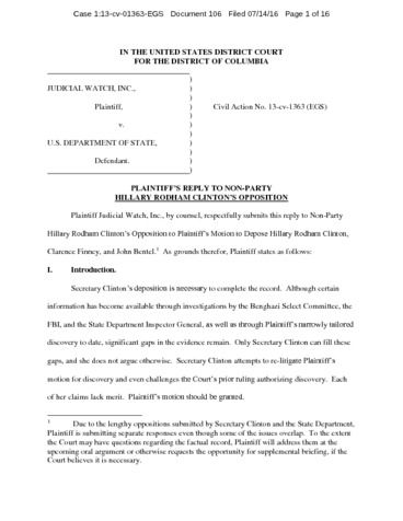 Page 1: JW v State Opposition Hillary Clinton 01363
