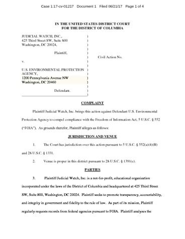 Page 1: JW V EPA Clean Power complaint 01217