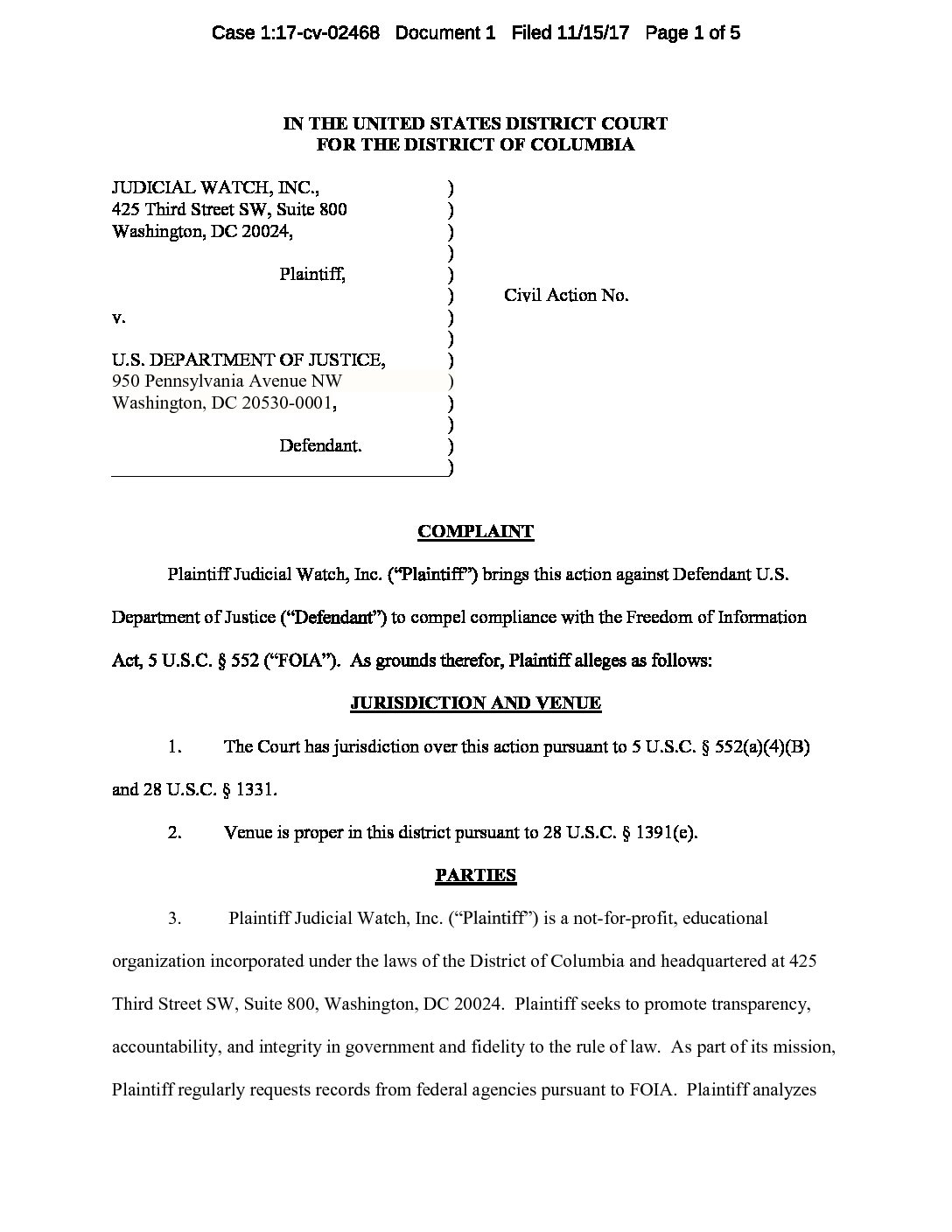 Page 1: JW v DOJ Nation of Islam Mosque complaint 02468